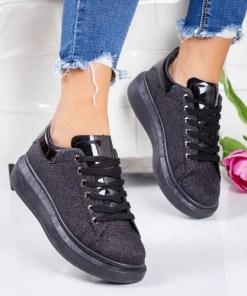Pantofi sport dama alte materiale negri cu gliter Nilavi