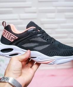 Pantofi sport dama textil negri cu roz Rigami