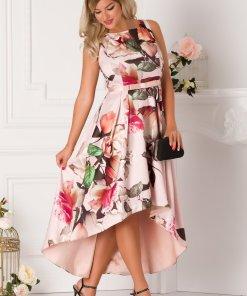 Rochie Bea roz prafuit cu imprimeu cu trandafiri si croi asimetric