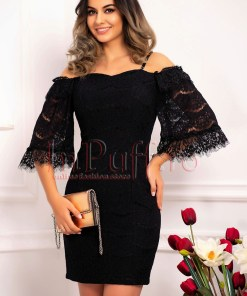Rochie eleganta de seara neagra din dantela