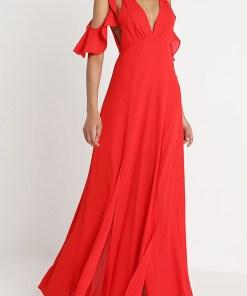 Rochie eleganta rosie lunga cu decolteu andanc in V si decupaje in zona umerilor