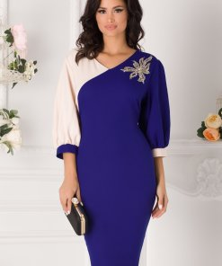 Rochie Gabi albastru cu bej si aplicatie florala din paiete si perle