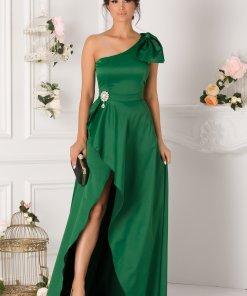 Rochie Roxana lunga verde cu funda maxi la umar