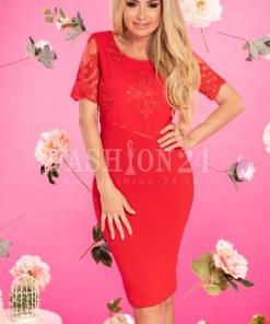 Rochie Sorana rosie cu dantela