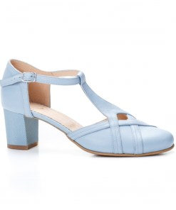 Sandale cu toc dama piele naturala albastre deschis Apasia