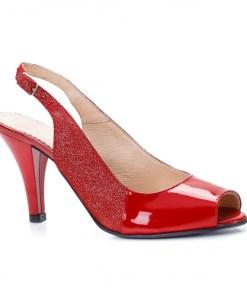 Sandale cu toc dama piele naturala rosii Sorila