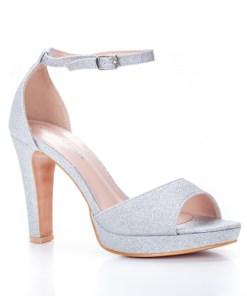 Sandale dama alte materiale cu toc argintii Virva