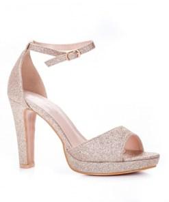 Sandale dama alte materiale cu toc champagne Virva