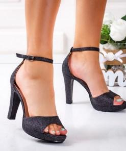 Sandale dama alte materiale cu toc negre Virva