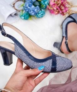 Sandale dama cu toc piele naturala albastra Tevila