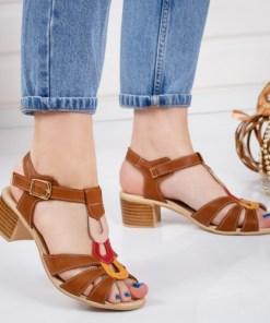 Sandale dama cu toc piele naturala maro Poruta