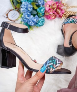 Sandale dama cu toc piele naturala negre Vabitili