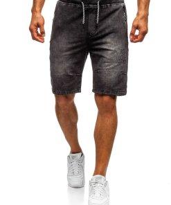 Pantaloni scurți denim bărbați negru Bolf 5784
