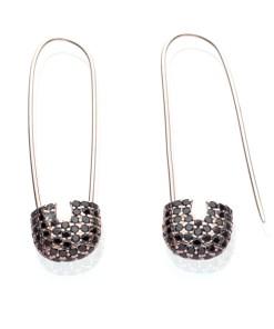 Cercei Argint Black Rose Pin