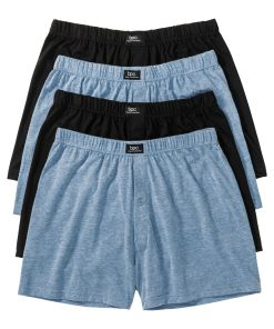 Boxer lejer din jerse (4buc/pac) bonprix - albastru melanj/negru