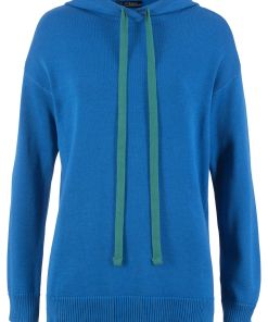 Pulover tricotatacu gluga bonprix - albastru azur
