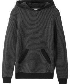 Pulover tricotatacu gluga bonprix - negru/gri