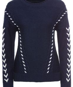 Pulover tricotata cu snururi bonprix - bleumarin/alb