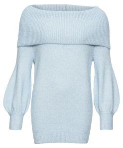 Pulover tricotata guler larg bonprix - albastru marmorat