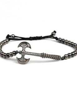 Bratara barbati argint Greta Otto - Black Ax, Black Rhodium, ajustabila 25 cm maxim, handmade, cutie personalizata