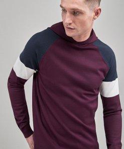 Hanorac visiniu tricotat cu model colorblock 1901832