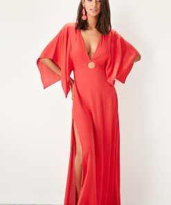 Rochie de plaja Trendyol Red Buckle detailed viscose beach dress