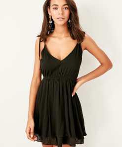 Rochie de plaja Trendyol Black Lace detailed Bluzan beach dress
