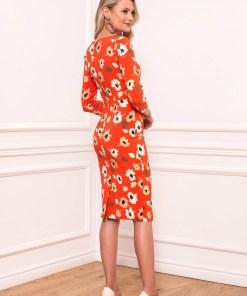 Rochie PrettyGirl portocalie midi eleganta din scuba cu maneci trei-sferturi decolteu la baza gatului si imprimeu floral
