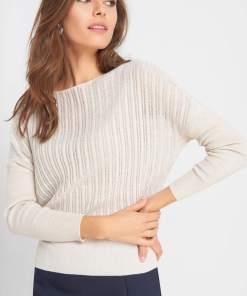 Pulover ajurat tip liliac - Bej