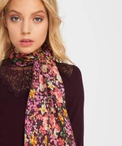 Eșarfă cu print floral - Violet