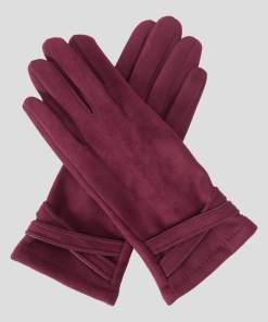 Mănuși din eco-piele întoarsă - Violet