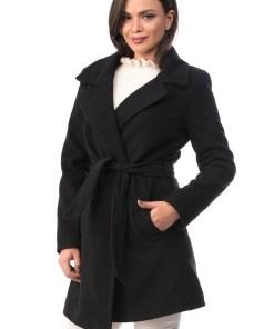 BL985-1 Palton din stofa, accesorizat cu cordon in talie