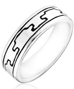 Bijuterii eshop - Inel argint 925 - motel gravat negru, proeminent H18.11 - Marime inel: 50