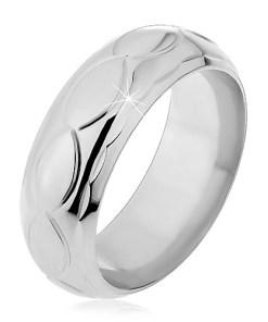 Bijuterii eshop - Inel argint - frunze si ochiuri gravate H14.18 - Marime inel: 49