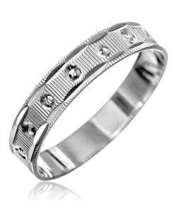Bijuterii eshop - Inel argint - motel zimtat, mici csnuri, gravuri pe margini H10.20 - Marime inel: 50