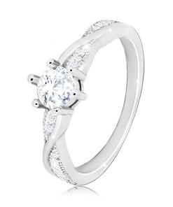 Bijuterii eshop - Inel de logodna din argint 925 - inel rotunda linii stralucitoare ondulate, zirconii M17.23 - Marime inel: 54