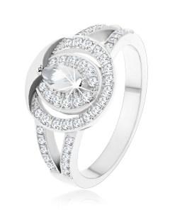 Bijuterii eshop - Inel din argint 925, cerc din zirconii transparente cu un zirconiu în forma de bobi?? în mijloc K07.05 - Marime inel: 48