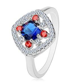 Bijuterii eshop - Inel din argint 925, mijloc albastru-închis, zirconii transparente ?i rosii K04.20 - Marime inel: 50