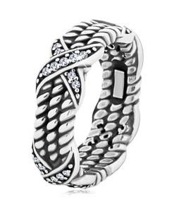 Bijuterii eshop - Inel din argint 925, patinat, motel funie rasucita, cruci cu zirconii M15.03 - Marime inel: 50