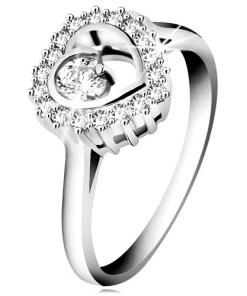 Bijuterii eshop - Inel din argint 925 placat cu rosiu, contur transparent de inima cu un zirconiu rotundaîn interior H9.12 - Marime inel: 47