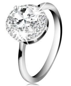Bijuterii eshop - Inel din argint 925 placat cu rosiu, zirconiu mare ovala?i transparent, frunze H9.19 - Marime inel: 49