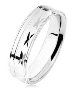 Bijuterii eshop - Inel din argint 925, suprafata lucioasa cu caneluri, linii subtiri S61.21 - Marime inel: 49