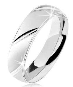Bijuterii eshop - Inel din argint 925, suprafata mata, caneluri diagonale lucioasa S61.31 - Marime inel: 49