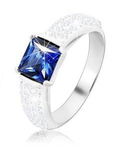 Bijuterii eshop - Inel din argint 925, zirconiu albastru patrat, brate proeminente stralucitoare M14.25 - Marime inel: 49