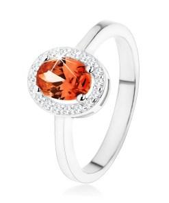 Bijuterii eshop - Inel din argint 925, zirconiu ovala portocaliu închis, margine transparent?, lucioasa  K05.20 - Marime inel: 48