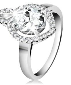 Bijuterii eshop - Inel din argint 925, zirconiu ovala transparent cu cadru lucios, contur boab?  K02.12 - Marime inel: 50