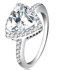 Bijuterii eshop - Inel din argint 925, zirconiu triunghiular, tansparent, margine lucioasa, decupaje  K01.02 - Marime inel: 47