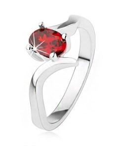 Bijuterii eshop - Inel elegant argint 925, zirconiu rubiniu, brate curbate SP39.23 - Marime inel: 50