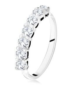 Bijuterii eshop - Inel lucios cu o linie din ?apte strasuri transparente, argint 925 SP11.24 - Marime inel: 49