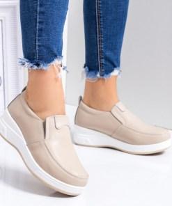 Pantofi casual dama piele naturala bej Tenina